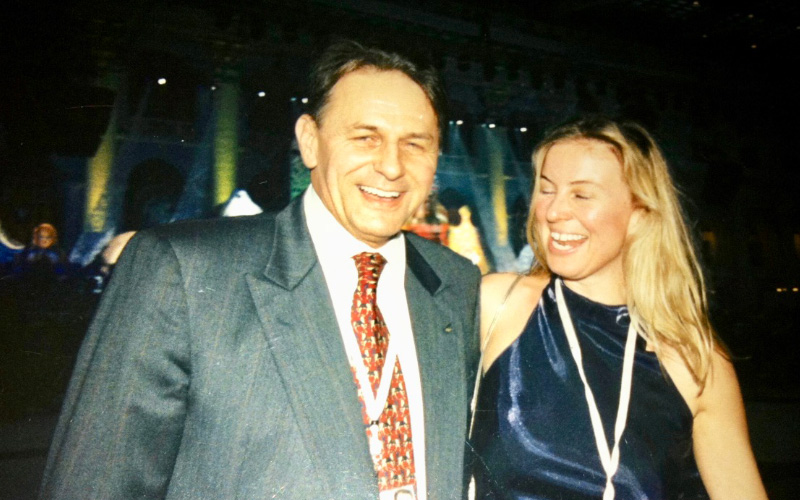 Ms Xenou with Honorary President Mr Jaques Rogge - Moscow 2001